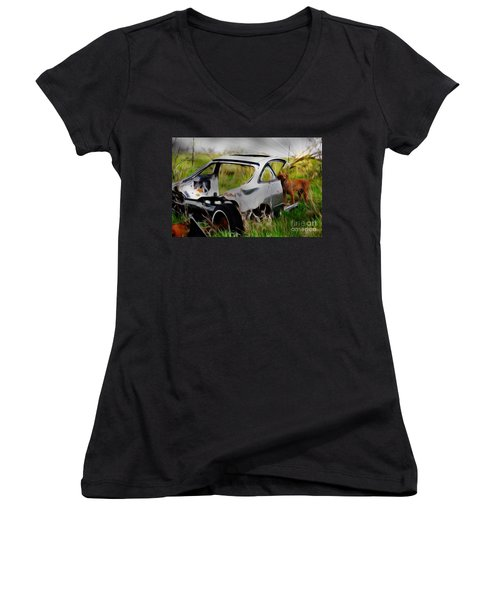 Search And Rescue Women's V-Neck T-Shirt (Junior Cut) by Liane Wright