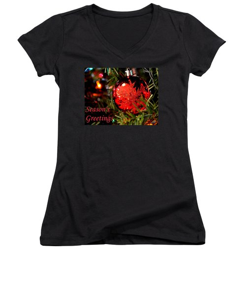 Women's V-Neck T-Shirt (Junior Cut) featuring the photograph Season's Greetings by Deena Stoddard