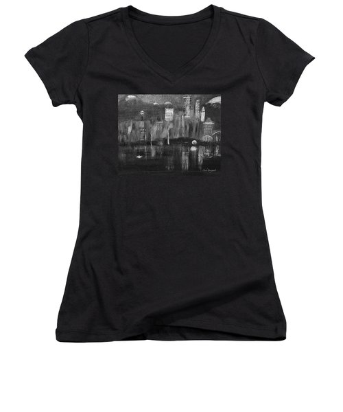 Seattle Black And White Women's V-Neck T-Shirt
