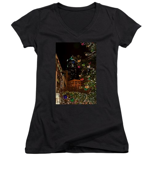 Seattle Downtown Christmas Time Art Prints Women's V-Neck T-Shirt (Junior Cut) by Valerie Garner