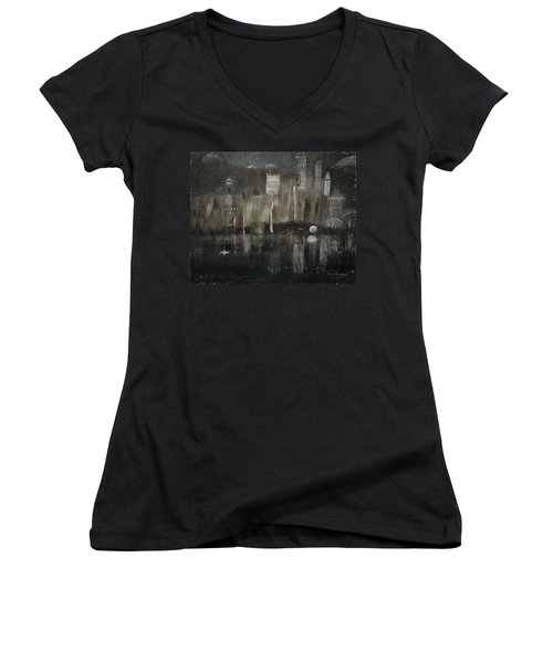 Seattle In The Rain Cityscape Women's V-Neck T-Shirt
