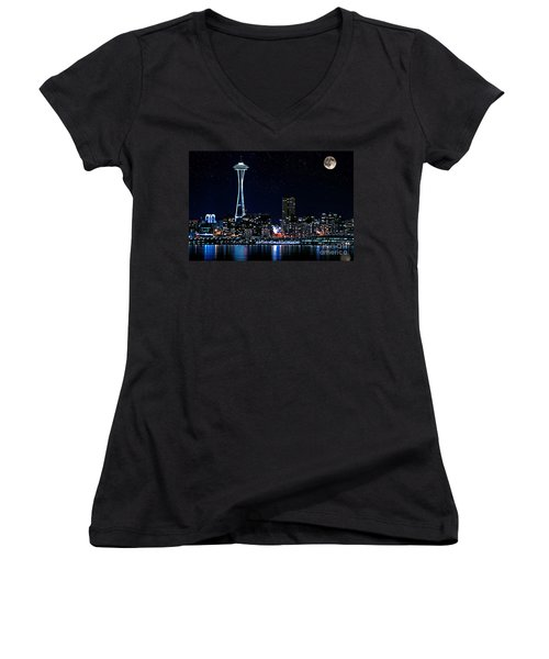 Seattle Skyline At Night With Full Moon Women's V-Neck T-Shirt (Junior Cut) by Valerie Garner
