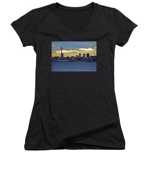 Seattle Skyline In Twilight Women's V-Neck (Athletic Fit)