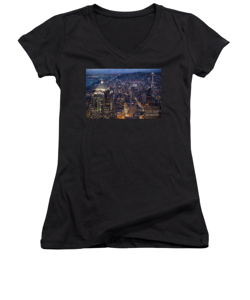 Seattle Urban Details Women's V-Neck T-Shirt (Junior Cut) by Mike Reid