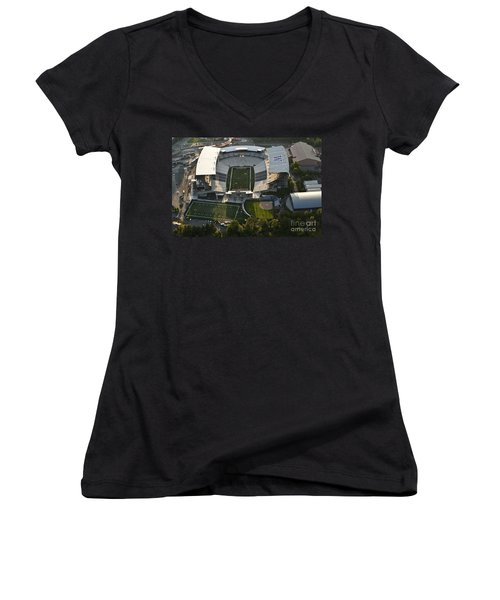 Seattle With Aerial View Of The Newly Renovated Husky Stadium Women's V-Neck T-Shirt