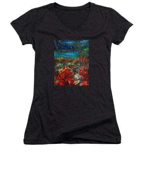Secret Garden Women's V-Neck T-Shirt (Junior Cut) by Teresa Wegrzyn