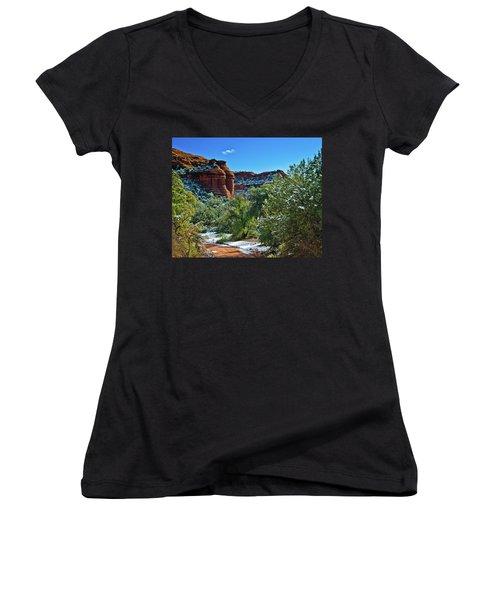 Women's V-Neck T-Shirt (Junior Cut) featuring the photograph Sedona Arizona - Wilderness Area by Bob and Nadine Johnston