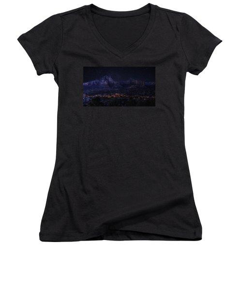 Women's V-Neck T-Shirt (Junior Cut) featuring the photograph Sedona By Night by Lynn Geoffroy