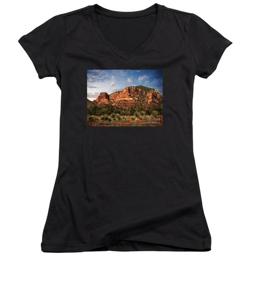 Women's V-Neck T-Shirt (Junior Cut) featuring the photograph Sedona Vortex  And Yucca by Barbara Chichester