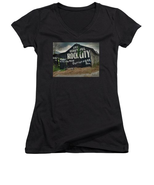 See Rock City Barn Women's V-Neck (Athletic Fit)