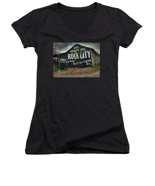 See Rock City Barn Women's V-Neck T-Shirt