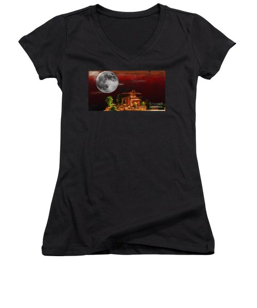Seeking Wisdom Women's V-Neck T-Shirt (Junior Cut) by Dan Stone