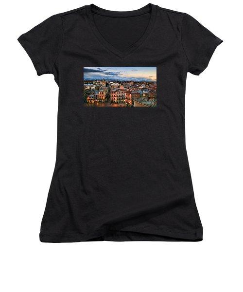 Segovia Nights In Spain By Diana Sainz Women's V-Neck