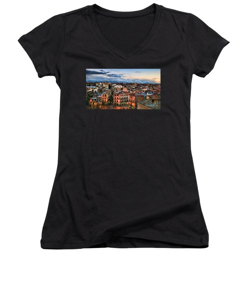 Segovia Nights In Spain By Diana Sainz Women's V-Neck