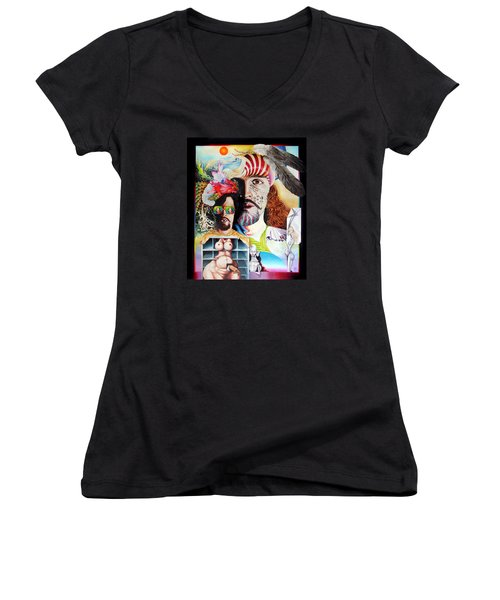Selfportrait With The Critical Eye Women's V-Neck T-Shirt (Junior Cut) by Otto Rapp