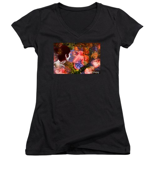 Girl Looking Toward Future Women's V-Neck (Athletic Fit)