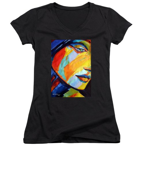 Women's V-Neck T-Shirt (Junior Cut) featuring the painting Sentiment by Helena Wierzbicki