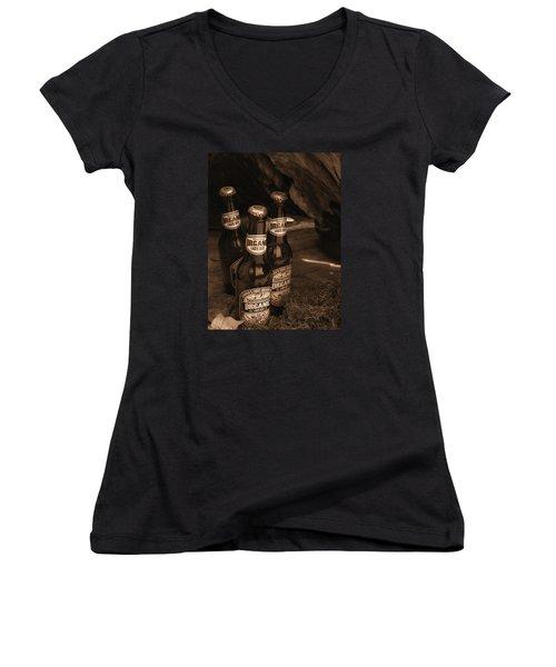Sepia Bottles Women's V-Neck T-Shirt (Junior Cut) by Rachel Mirror