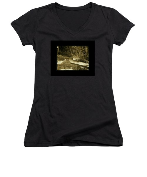 Sepia - Country Road First Snow Women's V-Neck T-Shirt (Junior Cut) by Absinthe Art By Michelle LeAnn Scott