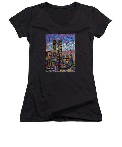 September 10th  Women's V-Neck T-Shirt (Junior Cut) by Robert SORENSEN