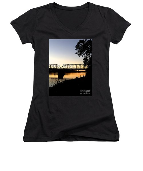 September Sunset On The River Women's V-Neck (Athletic Fit)