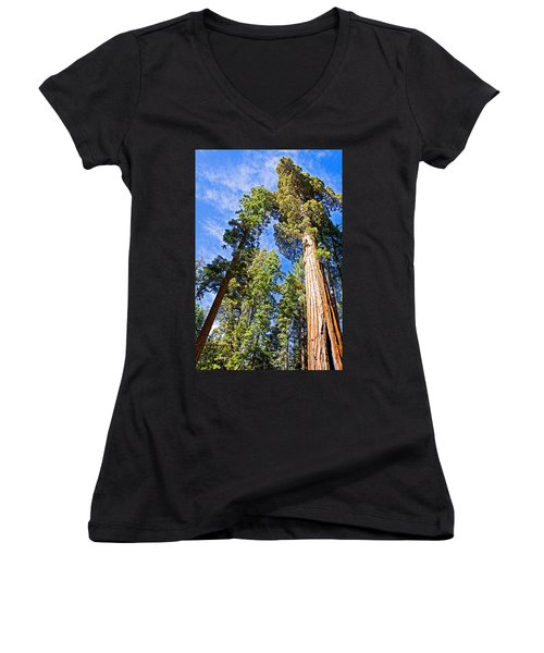 Sequoias Reaching To The Clouds In Mariposa Grove In Yosemite National Park-california Women's V-Neck T-Shirt