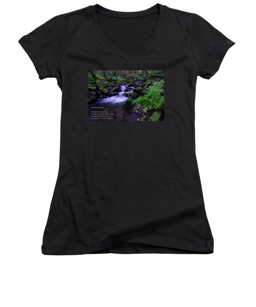 Serenity Prayer  Women's V-Neck T-Shirt (Junior Cut) by Jeff Swan