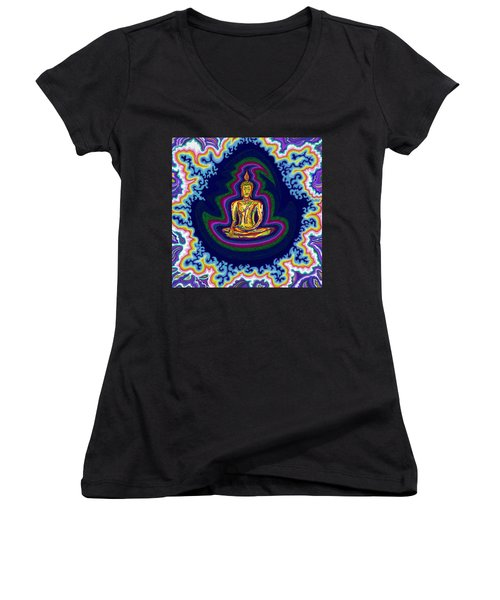 Seventh Heaven Buddha Women's V-Neck (Athletic Fit)