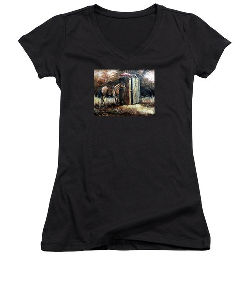 Shade For My Horse Women's V-Neck T-Shirt (Junior Cut) by Lee Piper