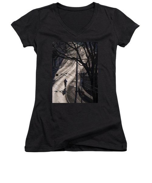 Shadow And Light Women's V-Neck T-Shirt (Junior Cut) by Muhie Kanawati