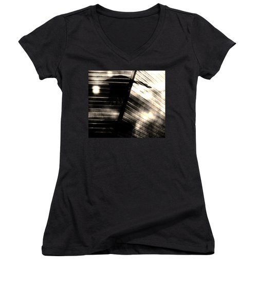 Women's V-Neck T-Shirt (Junior Cut) featuring the photograph Shadows Symphony  by Jessica Shelton