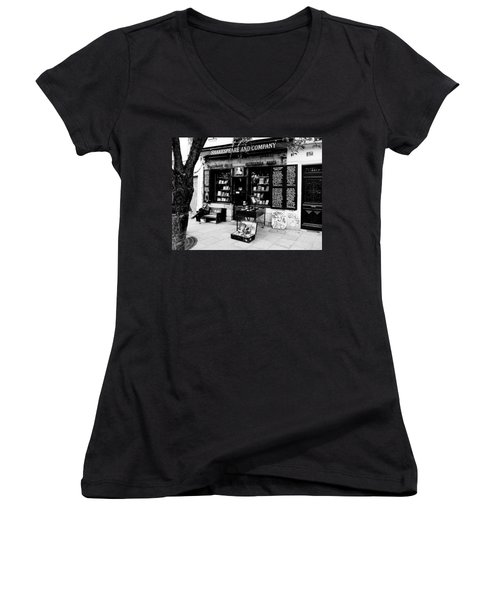 Shakespeare And Company Boookstore In Paris France Women's V-Neck T-Shirt (Junior Cut) by Richard Rosenshein