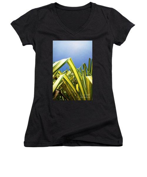 Women's V-Neck T-Shirt (Junior Cut) featuring the photograph Shape Of Hawaii 9 by Ellen Cotton