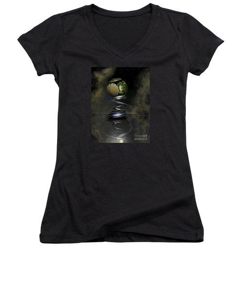 Shapero's Flower Women's V-Neck T-Shirt (Junior Cut) by Shari Nees