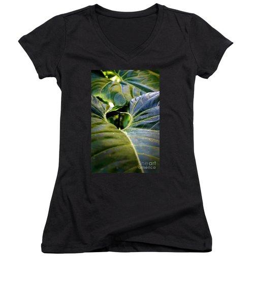 Women's V-Neck T-Shirt (Junior Cut) featuring the photograph Shapes Of Hawaii 11 by Ellen Cotton