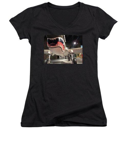 Women's V-Neck T-Shirt (Junior Cut) featuring the photograph Shark Aircraft by Aaron Martens