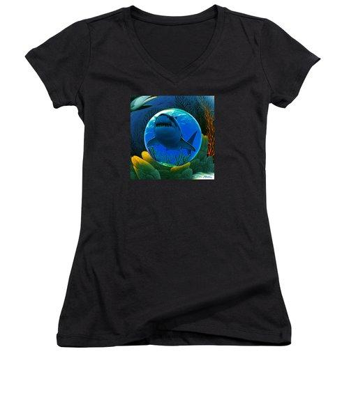 Women's V-Neck T-Shirt (Junior Cut) featuring the digital art Shark World  by Robin Moline