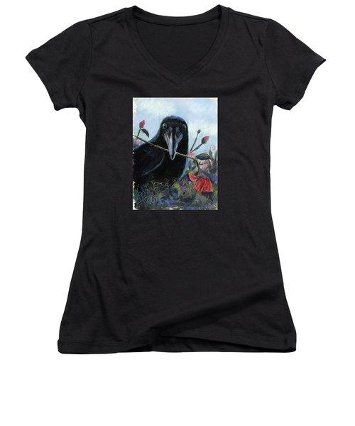 She Loves Me She Loves Me Not Women's V-Neck T-Shirt (Junior Cut) by Billie Colson