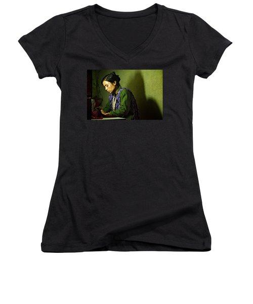 She Sews Into The Night Women's V-Neck T-Shirt (Junior Cut) by Valerie Rosen