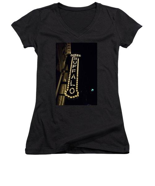 Shea's Buffalo Women's V-Neck T-Shirt (Junior Cut) by Guy Whiteley