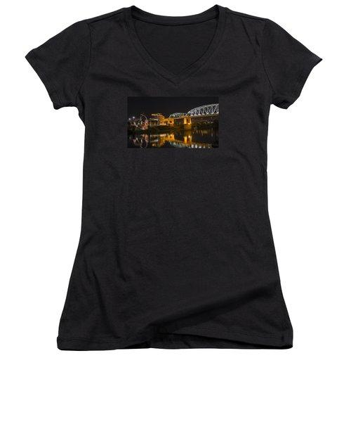Women's V-Neck T-Shirt (Junior Cut) featuring the photograph Shelby Street Bridge Nashville by Glenn DiPaola