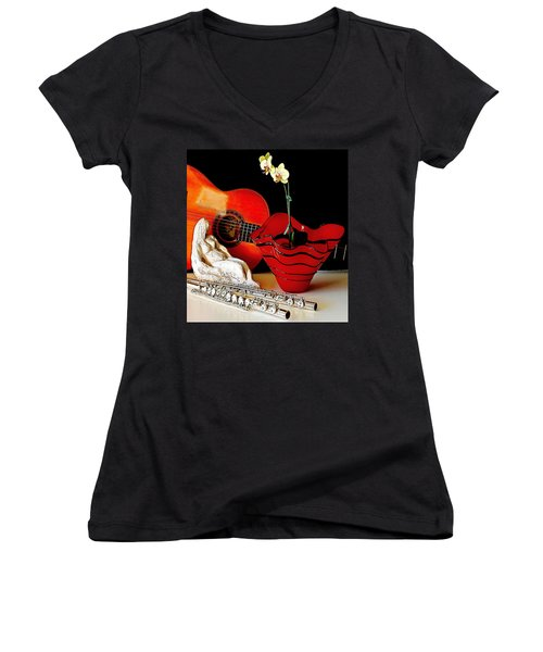 Women's V-Neck T-Shirt (Junior Cut) featuring the photograph Sherrie's Delight by Elf Evans
