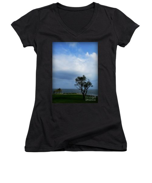Women's V-Neck T-Shirt (Junior Cut) featuring the photograph Sherwood Island by Kristine Nora
