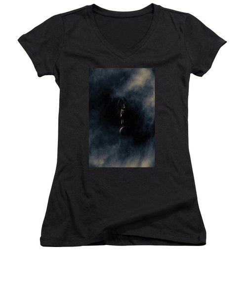 Women's V-Neck T-Shirt (Junior Cut) featuring the photograph Shine Forth In Darkness by Greg Collins