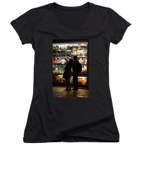 Women's V-Neck T-Shirt (Junior Cut) featuring the photograph Shop by Silvia Bruno