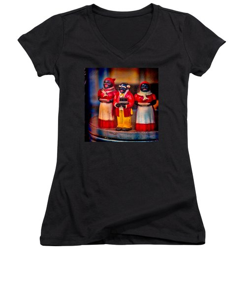 Women's V-Neck T-Shirt (Junior Cut) featuring the photograph Shop Window Trio by Chris Lord