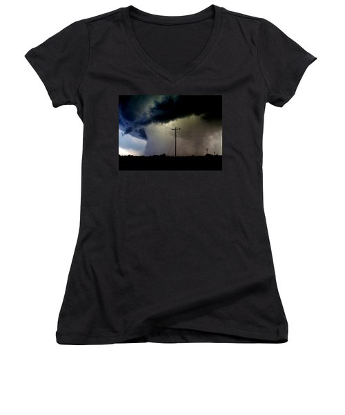 Women's V-Neck T-Shirt (Junior Cut) featuring the photograph Shrouded Tornado by Ed Sweeney