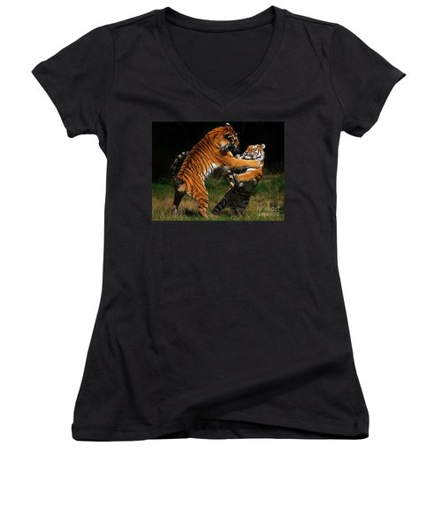 Women's V-Neck T-Shirt (Junior Cut) featuring the photograph Siberian Tigers In Fight by Nick  Biemans