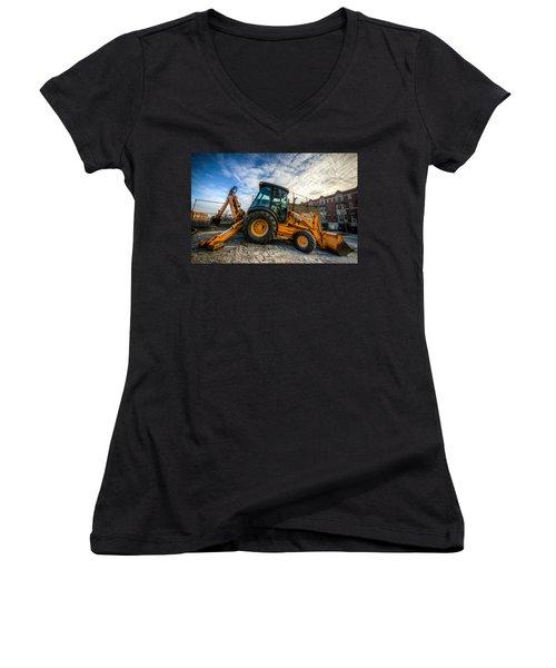 Side View Of A Backhoe At Sunset Women's V-Neck T-Shirt