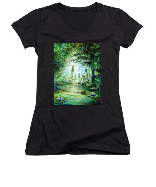 Siempre Conmigo Women's V-Neck T-Shirt (Junior Cut) by Heather Calderon